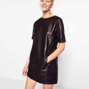 ZARA Trafaluc Black Pleather Dress XL Faux Leather